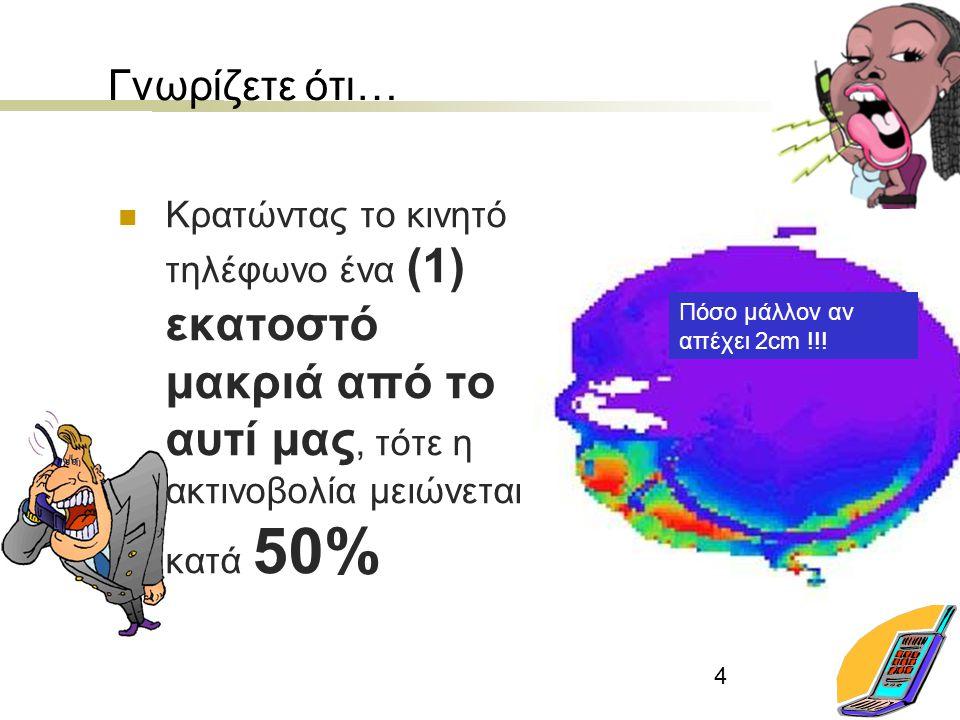 4 Γνωρίζετε ότι… Κρατώντας το κινητό τηλέφωνο ένα (1) εκατοστό μακριά από το αυτί μας, τότε η ακτινοβολία μειώνεται κατά 50% Πόσο μάλλον αν απέχει 2cm