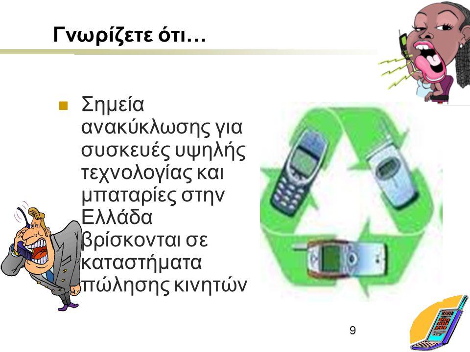 9 Γνωρίζετε ότι… Σημεία ανακύκλωσης για συσκευές υψηλής τεχνολογίας και μπαταρίες στην Ελλάδα βρίσκονται σε καταστήματα πώλησης κινητών