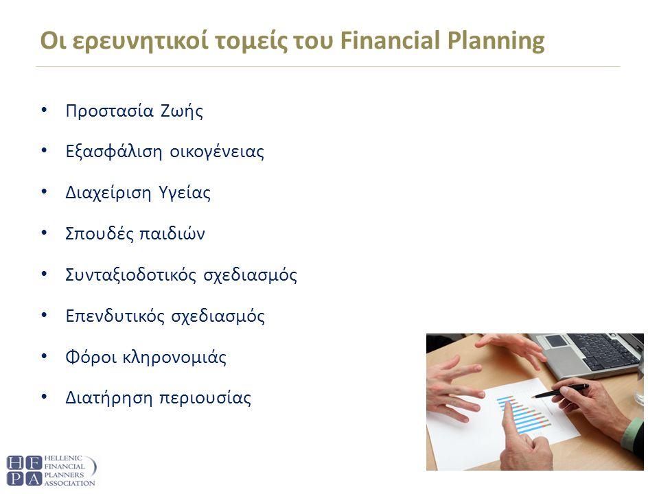 Οι ερευνητικοί τομείς του Financial Planning Προστασία Ζωής Εξασφάλιση οικογένειας Διαχείριση Υγείας Σπουδές παιδιών Συνταξιοδοτικός σχεδιασμός Επενδυτικός σχεδιασμός Φόροι κληρονομιάς Διατήρηση περιουσίας