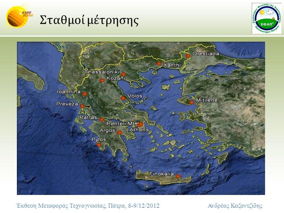 Σταθμοί μέτρησης Έκθεση Μεταφοράς Τεχνογνωσίας, Πάτρα, 8-9/12/2012 Ανδρέας Καζαντζίδης