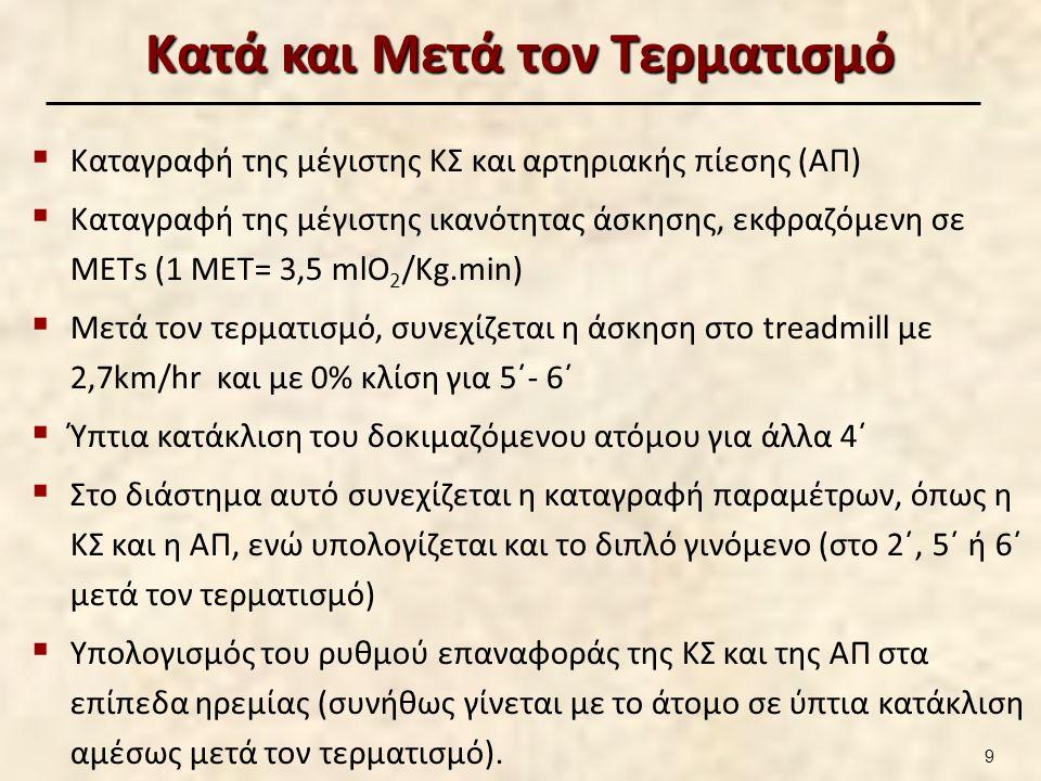 Κατά και Μετά τον Τερματισμό  Καταγραφή της μέγιστης ΚΣ και αρτηριακής πίεσης (ΑΠ)  Καταγραφή της μέγιστης ικανότητας άσκησης, εκφραζόμενη σε ΜΕΤs (1 ΜΕΤ= 3,5 mlO 2 /Kg.min)  Μετά τον τερματισμό, συνεχίζεται η άσκηση στο treadmill με 2,7km/hr και με 0% κλίση για 5΄- 6΄  Ύπτια κατάκλιση του δοκιμαζόμενου ατόμου για άλλα 4΄  Στο διάστημα αυτό συνεχίζεται η καταγραφή παραμέτρων, όπως η ΚΣ και η ΑΠ, ενώ υπολογίζεται και το διπλό γινόμενο (στο 2΄, 5΄ ή 6΄ μετά τον τερματισμό)  Υπολογισμός του ρυθμού επαναφοράς της ΚΣ και της ΑΠ στα επίπεδα ηρεμίας (συνήθως γίνεται με το άτομο σε ύπτια κατάκλιση αμέσως μετά τον τερματισμό).