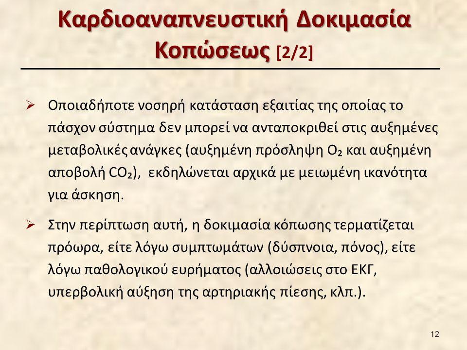 Καρδιοαναπνευστική Δοκιμασία Κοπώσεως Καρδιοαναπνευστική Δοκιμασία Κοπώσεως [2/2]  Οποιαδήποτε νοσηρή κατάσταση εξαιτίας της οποίας το πάσχον σύστημα δεν μπορεί να ανταποκριθεί στις αυξημένες μεταβολικές ανάγκες (αυξημένη πρόσληψη O₂ και αυξημένη αποβολή CO₂), εκδηλώνεται αρχικά με μειωμένη ικανότητα για άσκηση.