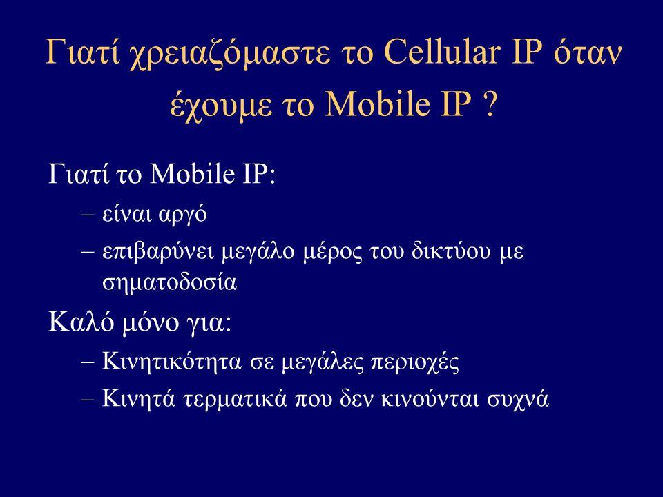 Cellular IP – Data delivery Correspondent Node Home Agent BS Gateway BS Internet Cellular IP Network Mobile Station
