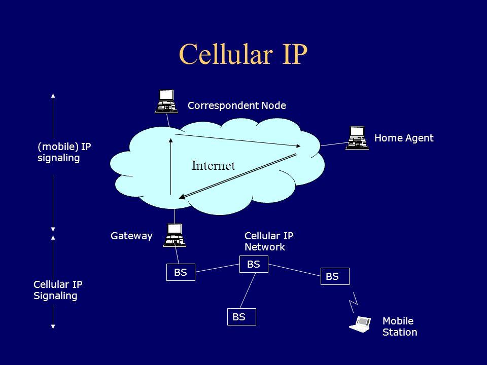 Cellular IP Correspondent Node Home Agent BS Gateway BS Internet (mobile) IP signaling Cellular IP Signaling Cellular IP Network Mobile Station