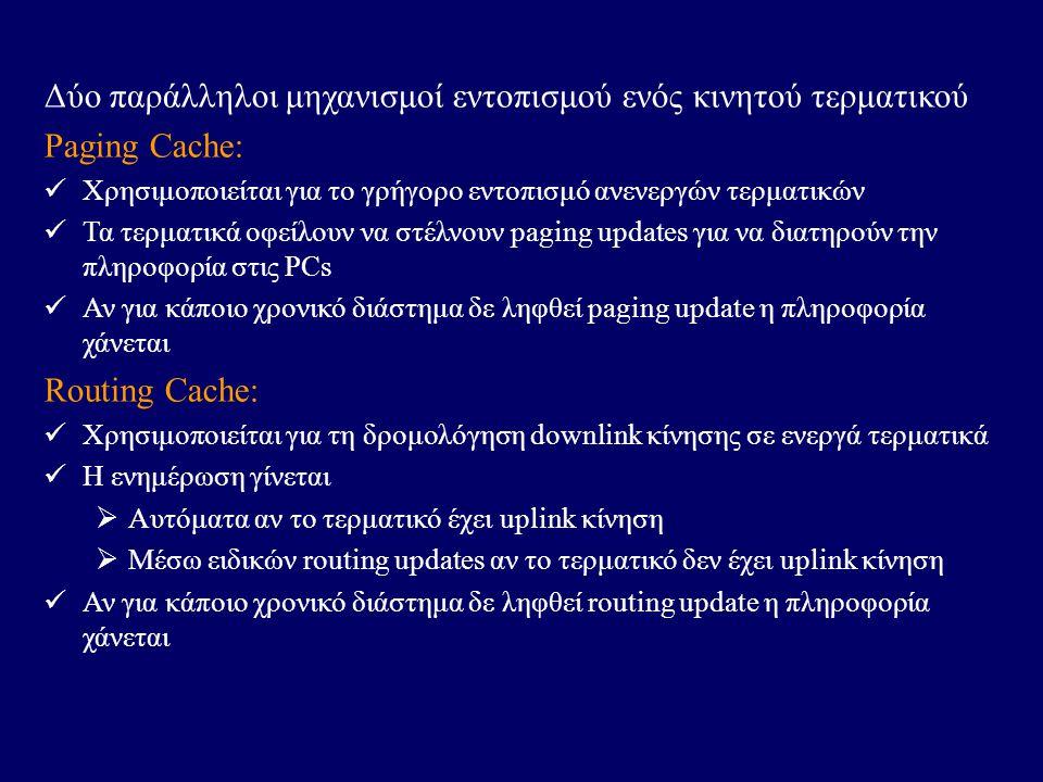 Δύο παράλληλοι μηχανισμοί εντοπισμού ενός κινητού τερματικού Paging Cache: Χρησιμοποιείται για το γρήγορο εντοπισμό ανενεργών τερματικών Τα τερματικά οφείλουν να στέλνουν paging updates για να διατηρούν την πληροφορία στις PCs Αν για κάποιο χρονικό διάστημα δε ληφθεί paging update η πληροφορία χάνεται Routing Cache: Χρησιμοποιείται για τη δρομολόγηση downlink κίνησης σε ενεργά τερματικά Η ενημέρωση γίνεται  Αυτόματα αν το τερματικό έχει uplink κίνηση  Μέσω ειδικών routing updates αν το τερματικό δεν έχει uplink κίνηση Αν για κάποιο χρονικό διάστημα δε ληφθεί routing update η πληροφορία χάνεται
