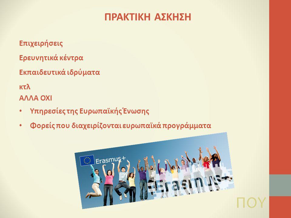 Επιχειρήσεις Ερευνητικά κέντρα Εκπαιδευτικά ιδρύματα κτλ ΑΛΛΑ ΟΧΙ Υπηρεσίες της Ευρωπαϊκής Ένωσης Φορείς που διαχειρίζονται ευρωπαϊκά προγράμματα ΠΟΥ