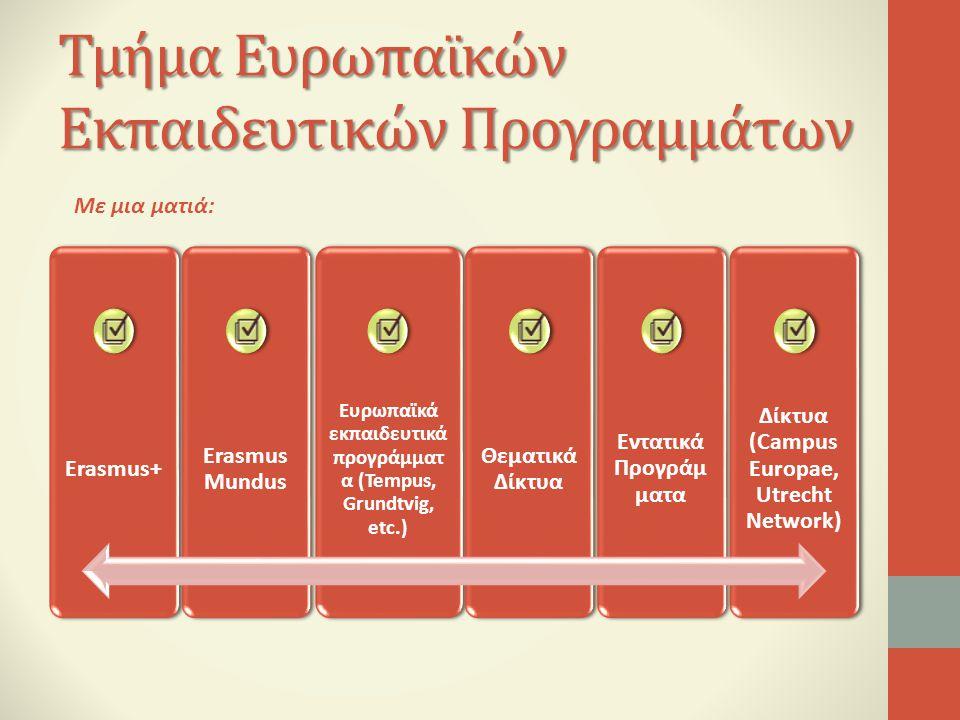 Τμήμα Ευρωπαϊκών Εκπαιδευτικών Προγραμμάτων Με μια ματιά: Erasmus+ Erasmus Mundus Ευρωπαϊκά εκπαιδευτικά προγράμματ α (Tempus, Grundtvig, etc.) Θεματι