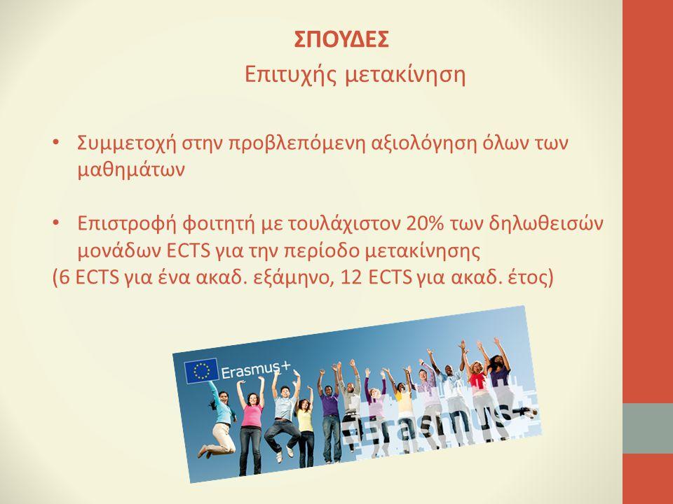 Συμμετοχή στην προβλεπόμενη αξιολόγηση όλων των μαθημάτων Επιστροφή φοιτητή με τουλάχιστον 20% των δηλωθεισών μονάδων ECTS για την περίοδο μετακίνησης (6 ECTS για ένα ακαδ.