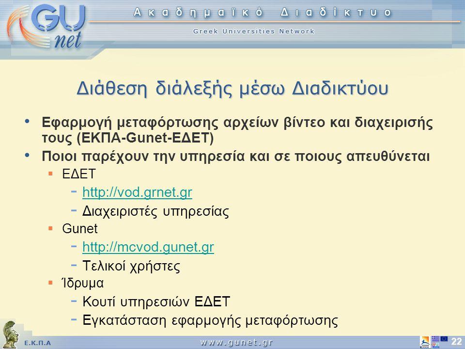Ε.Κ.Π.Α 22 Διάθεση διάλεξής μέσω Διαδικτύου Εφαρμογή μεταφόρτωσης αρχείων βίντεο και διαχειρισής τους (ΕΚΠΑ-Gunet-EΔΕΤ) Ποιοι παρέχουν την υπηρεσία και σε ποιους απευθύνεται  ΕΔΕΤ - http://vod.grnet.gr http://vod.grnet.gr - Διαχειριστές υπηρεσίας  Gunet - http://mcvod.gunet.gr http://mcvod.gunet.gr - Τελικοί χρήστες  Ίδρυμα - Κουτί υπηρεσιών ΕΔΕΤ - Εγκατάσταση εφαρμογής μεταφόρτωσης