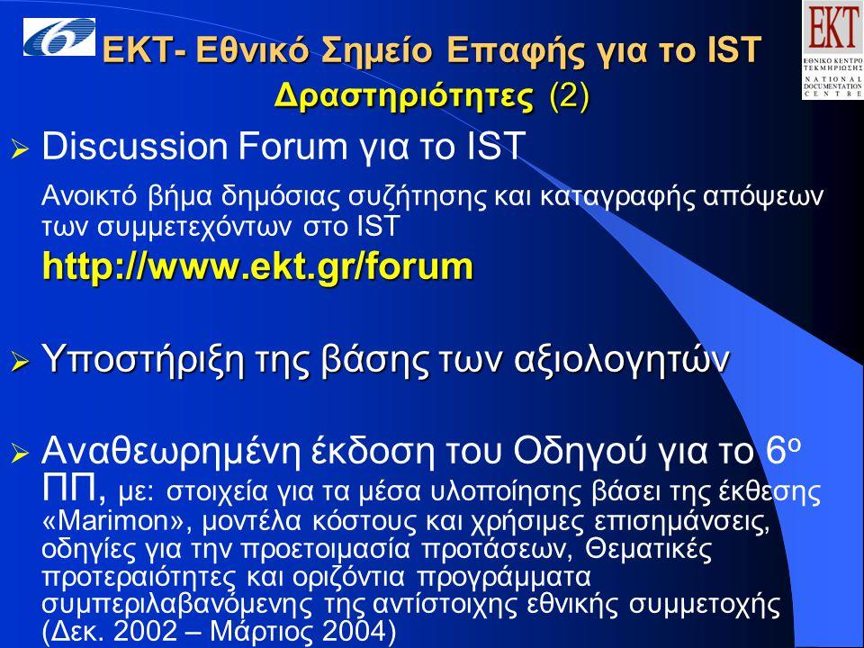 ΕΚΤ- Εθνικό Σημείο Επαφής για το IST Δραστηριότητες (2)  Discussion Forum για το IST Ανοικτό βήμα δημόσιας συζήτησης και καταγραφής απόψεων των συμμετεχόντων στο ISThttp://www.ekt.gr/forum  Υποστήριξη της βάσης των αξιολογητών  Αναθεωρημένη έκδοση του Οδηγού για το 6 ο ΠΠ, με: στοιχεία για τα μέσα υλοποίησης βάσει της έκθεσης «Marimon», μοντέλα κόστους και χρήσιμες επισημάνσεις, οδηγίες για την προετοιμασία προτάσεων, Θεματικές προτεραιότητες και οριζόντια προγράμματα συμπεριλαβανόμενης της αντίστοιχης εθνικής συμμετοχής (Δεκ.