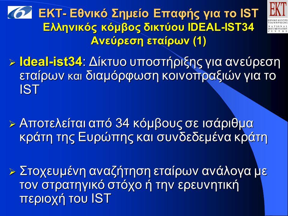 ΕΚΤ- Εθνικό Σημείο Επαφής για το IST Ελληνικός κόμβος δικτύου IDEAL-IST34 Ανεύρεση εταίρων (1)  Ideal-ist34: Δίκτυο υποστήριξης για ανεύρεση εταίρων και διαμόρφωση κοινοπραξιών για το IST  Αποτελείται από 34 κόμβους σε ισάριθμα κράτη της Ευρώπης και συνδεδεμένα κράτη  Στοχευμένη αναζήτηση εταίρων ανάλογα με τον στρατηγικό στόχο ή την ερευνητική περιοχή του IST