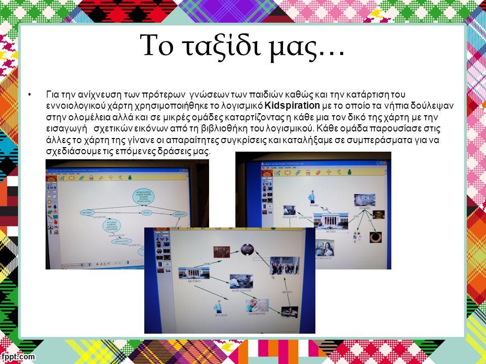 Το ταξίδι μας … Για την ανίχνευση των πρότερων γνώσεων των παιδιών καθώς και την κατάρτιση του εννοιολογικού χάρτη χρησιμοποιήθηκε το λογισμικό Kidspiration με το οποίο τα νήπια δούλεψαν στην ολομέλεια αλλά και σε μικρές ομάδες καταρτίζοντας η κάθε μια τον δικό της χάρτη με την εισαγωγή σχετικών εικόνων από τη βιβλιοθήκη του λογισμικού.
