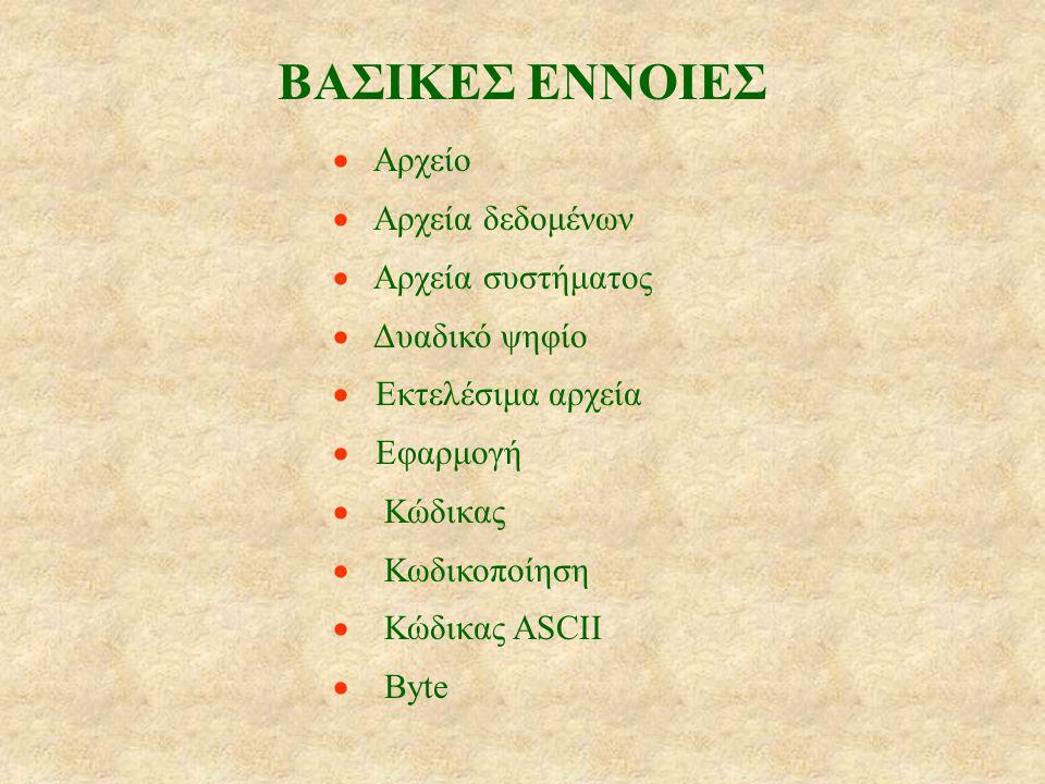 ΒΑΣΙΚΕΣ ΕΝΝΟΙΕΣ  Αρχείο  Αρχεία δεδομένων  Αρχεία συστήματος  Δυαδικό ψηφίο  Εκτελέσιμα αρχεία  Εφαρμογή  Κώδικας  Κωδικοποίηση  Κώδικας ASCII  Byte