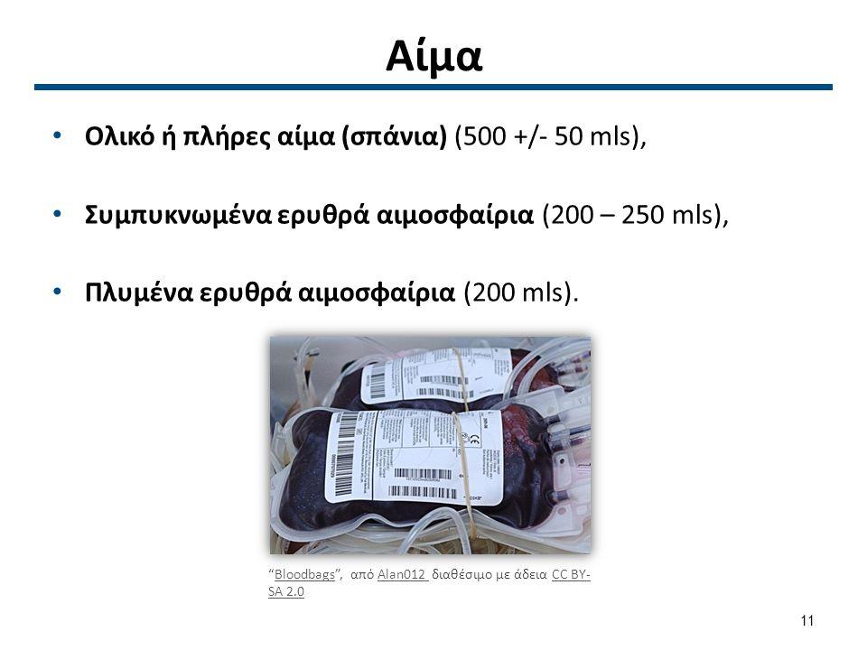 """Αίμα Ολικό ή πλήρες αίμα (σπάνια) (500 +/- 50 mls), Συμπυκνωμένα ερυθρά αιμοσφαίρια (200 – 250 mls), Πλυμένα ερυθρά αιμοσφαίρια (200 mls). """"Bloodbag"""
