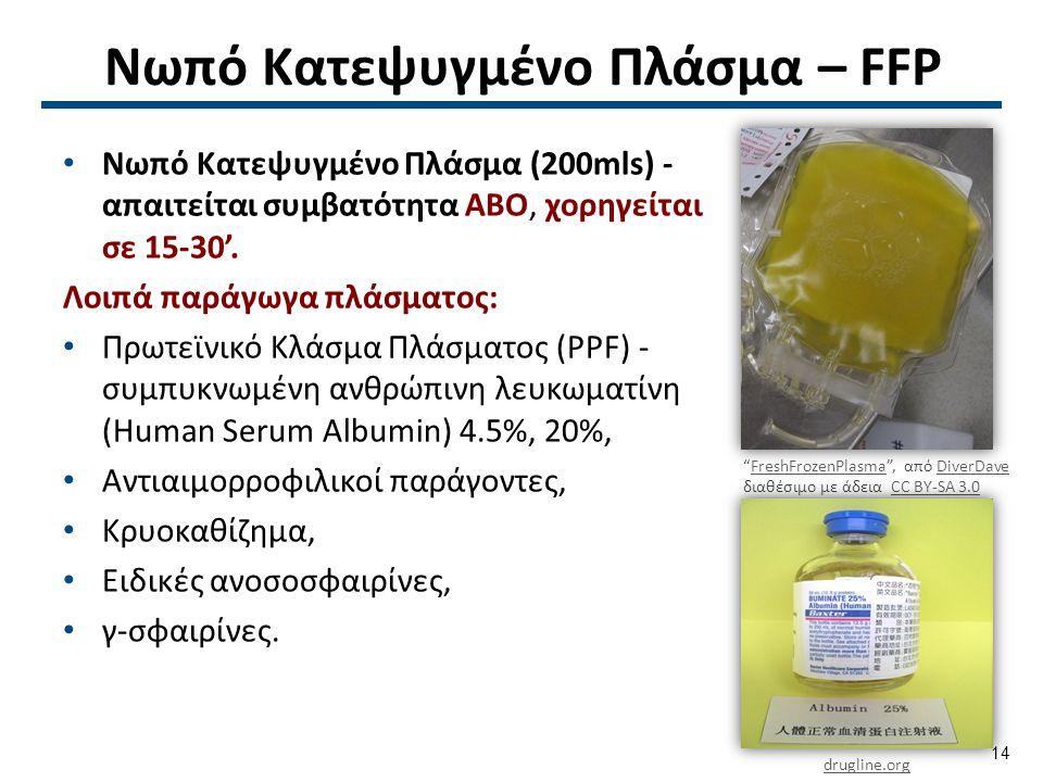 Νωπό Κατεψυγμένο Πλάσμα – FFP Νωπό Κατεψυγμένο Πλάσμα (200mls) - απαιτείται συμβατότητα ΑΒΟ, χορηγείται σε 15-30'. Λοιπά παράγωγα πλάσματος: Πρωτεϊνι