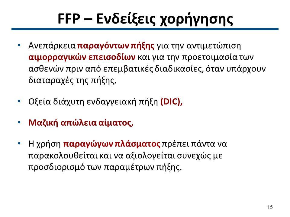 FFP – Ενδείξεις χορήγησης Ανεπάρκεια παραγόντων πήξης για την αντιμετώπιση αιμορραγικών επεισοδίων και για την προετοιμασία των ασθενών πριν από επεμβ