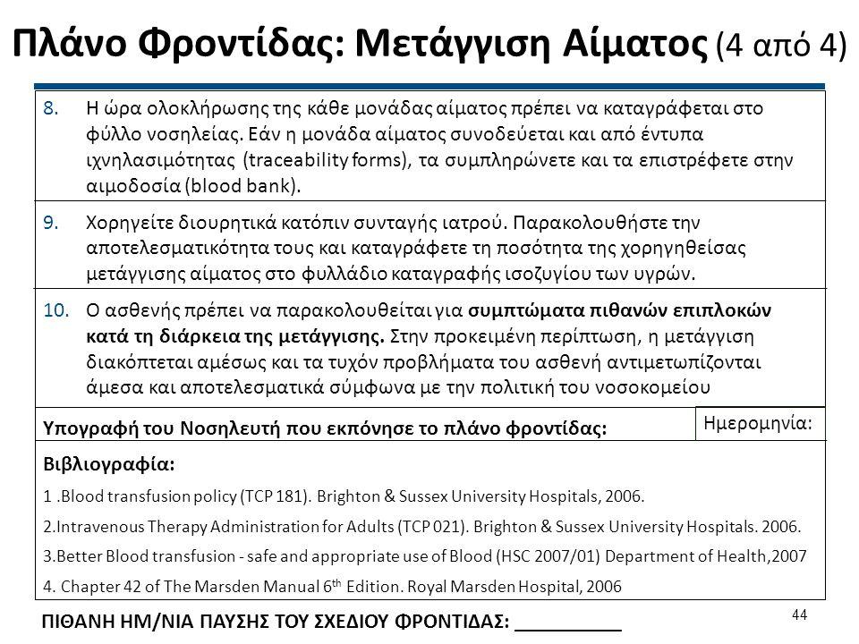 Πλάνο Φροντίδας: Μετάγγιση Αίματος (4 από 4) Υπογραφή του Νοσηλευτή που εκπόνησε το πλάνο φροντίδας: Βιβλιογραφία: 1.Blood transfusion policy (TCP 181
