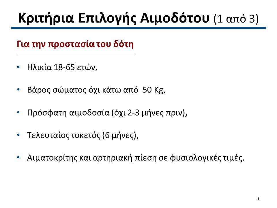 Κριτήρια Επιλογής Αιμοδότου (1 από 3) Για την προστασία του δότη Ηλικία 18-65 ετών, Βάρος σώματος όχι κάτω από 50 Kg, Πρόσφατη αιμοδοσία (όχι 2-3 μήνε