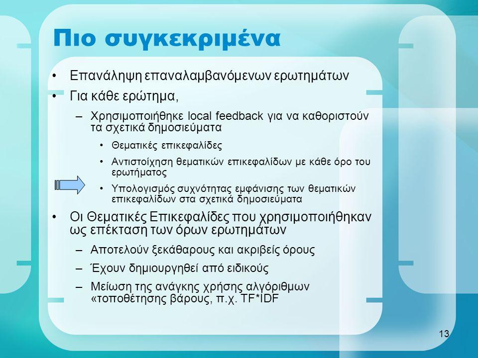 13 Πιο συγκεκριμένα Επανάληψη επαναλαμβανόμενων ερωτημάτων Για κάθε ερώτημα, –Χρησιμοποιήθηκε local feedback για να καθοριστούν τα σχετικά δημοσιεύματα Θεματικές επικεφαλίδες Αντιστοίχηση θεματικών επικεφαλίδων με κάθε όρο του ερωτήματος Υπολογισμός συχνότητας εμφάνισης των θεματικών επικεφαλίδων στα σχετικά δημοσιεύματα Οι Θεματικές Επικεφαλίδες που χρησιμοποιήθηκαν ως επέκταση των όρων ερωτημάτων –Αποτελούν ξεκάθαρους και ακριβείς όρους –Έχουν δημιουργηθεί από ειδικούς –Μείωση της ανάγκης χρήσης αλγόριθμων «τοποθέτησης βάρους, π.χ.