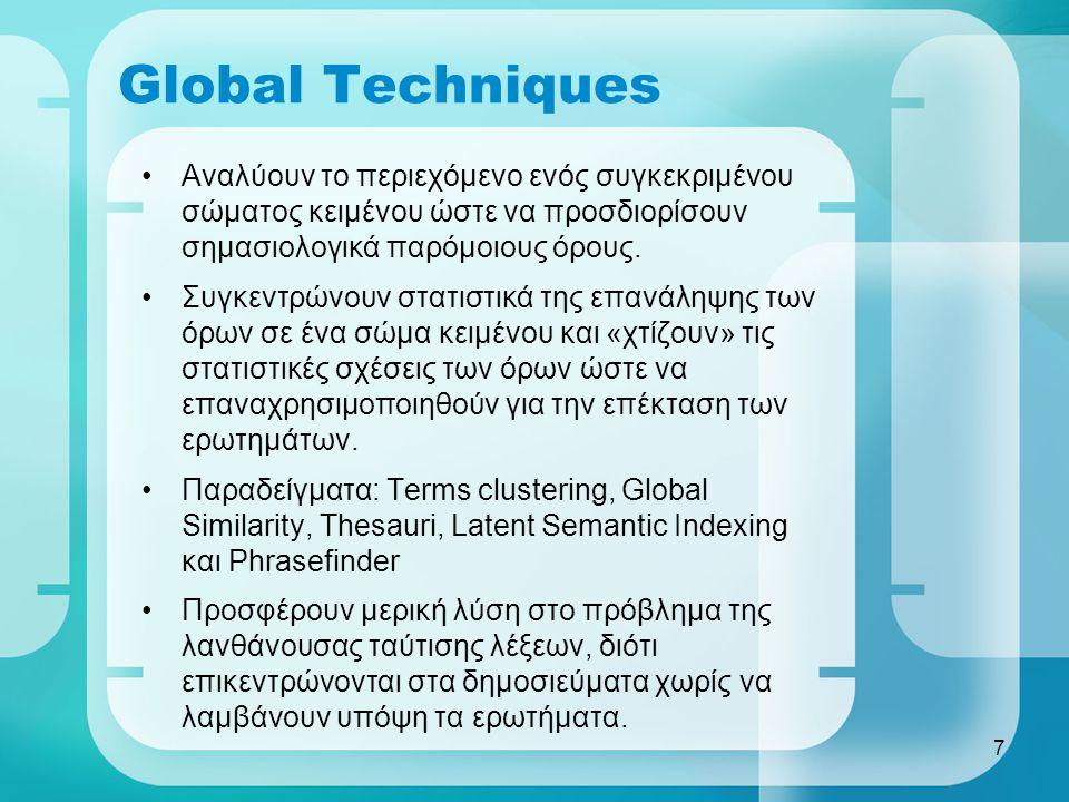 7 Global Techniques Αναλύουν το περιεχόμενο ενός συγκεκριμένου σώματος κειμένου ώστε να προσδιορίσουν σημασιολογικά παρόμοιους όρους.