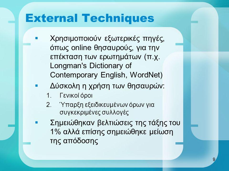 9 External Techniques  Χρησιμοποιούν εξωτερικές πηγές, όπως online θησαυρούς, για την επέκταση των ερωτημάτων (π.χ.