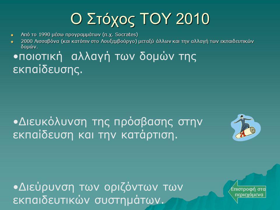 Ο Στόχος ΤΟΥ 2010  Από το 1990 μέσω προγραμμάτων (π.χ. Socrates)  2000 Λισσαβόνα (και κατόπιν στο Λουξεμβούργο) μεταξύ άλλων και την αλλαγή των εκπα