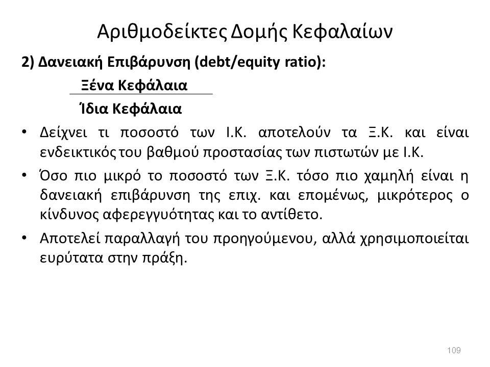 Αριθμοδείκτες Δομής Κεφαλαίων 2) Δανειακή Επιβάρυνση (debt/equity ratio): Ξένα Κεφάλαια Ίδια Κεφάλαια Δείχνει τι ποσοστό των Ι.Κ. αποτελούν τα Ξ.Κ. κα
