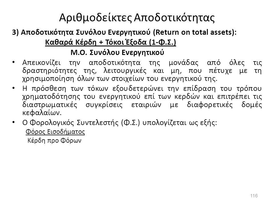 Αριθμοδείκτες Αποδοτικότητας 3) Αποδοτικότητα Συνόλου Ενεργητικού (Return on total assets): Καθαρά Κέρδη + Τόκοι Έξοδα (1-Φ.Σ.) Μ.Ο. Συνόλου Ενεργητικ