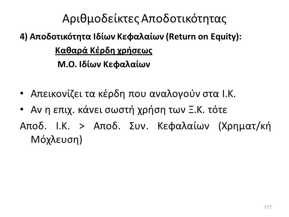 Αριθμοδείκτες Αποδοτικότητας 4) Αποδοτικότητα Ιδίων Κεφαλαίων (Return on Equity): Καθαρά Κέρδη χρήσεως Μ.Ο. Ιδίων Κεφαλαίων Απεικονίζει τα κέρδη που α