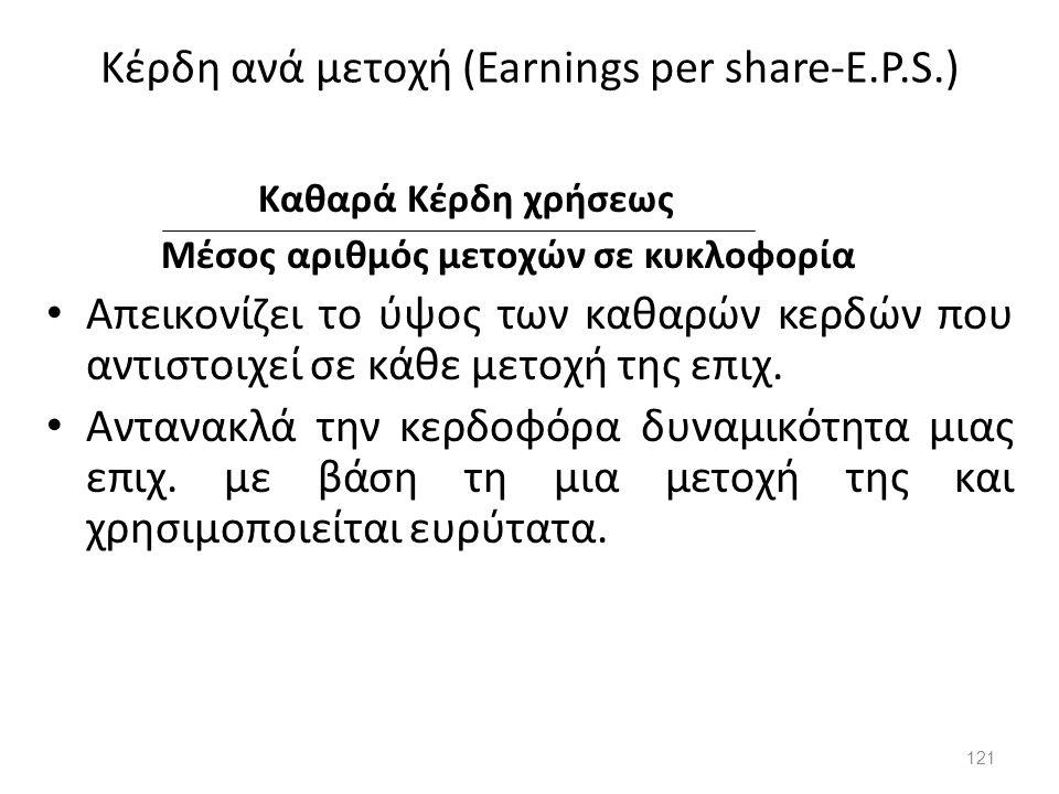 Κέρδη ανά μετοχή (Earnings per share-E.P.S.) Καθαρά Κέρδη χρήσεως Μέσος αριθμός μετοχών σε κυκλοφορία Απεικονίζει το ύψος των καθαρών κερδών που αντισ