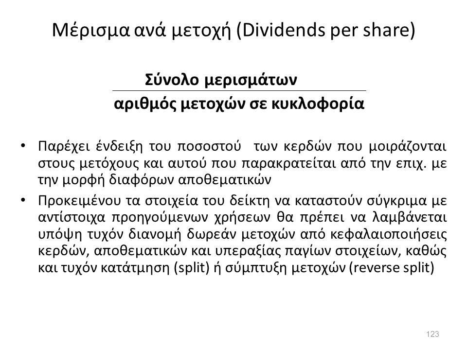 Μέρισμα ανά μετοχή (Dividends per share) Σύνολο μερισμάτων αριθμός μετοχών σε κυκλοφορία Παρέχει ένδειξη του ποσοστού των κερδών που μοιράζονται στους