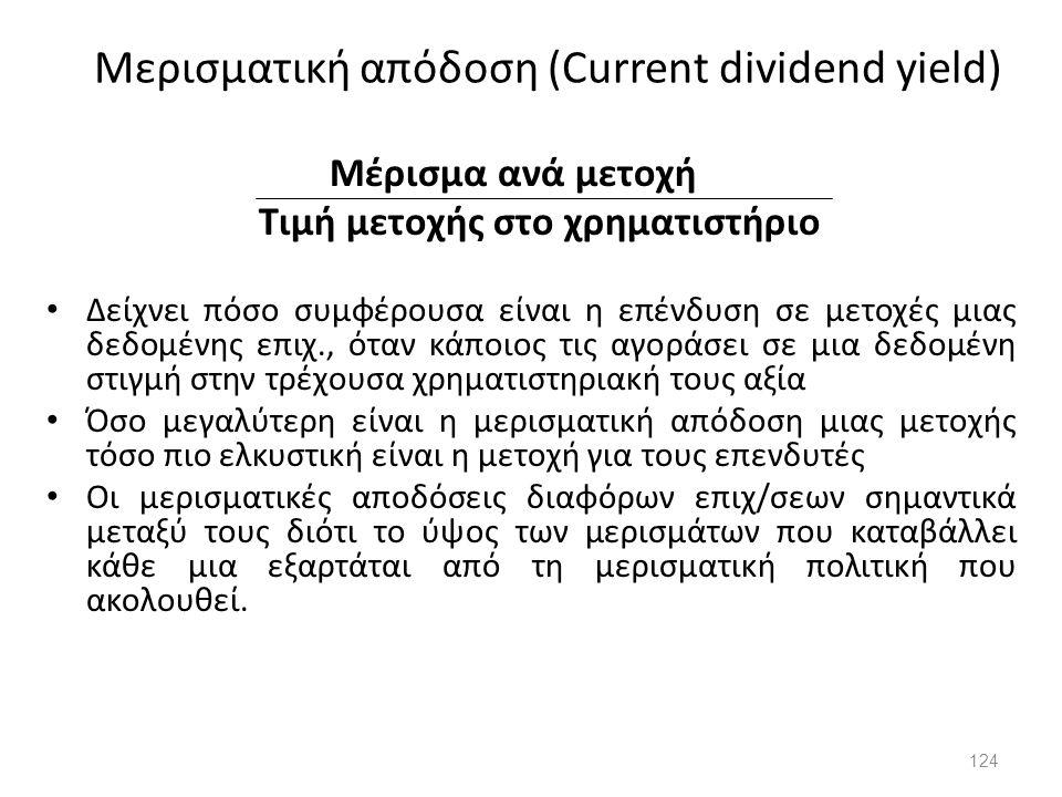 Μερισματική απόδοση (Current dividend yield) Μέρισμα ανά μετοχή Τιμή μετοχής στο χρηματιστήριο Δείχνει πόσο συμφέρουσα είναι η επένδυση σε μετοχές μια