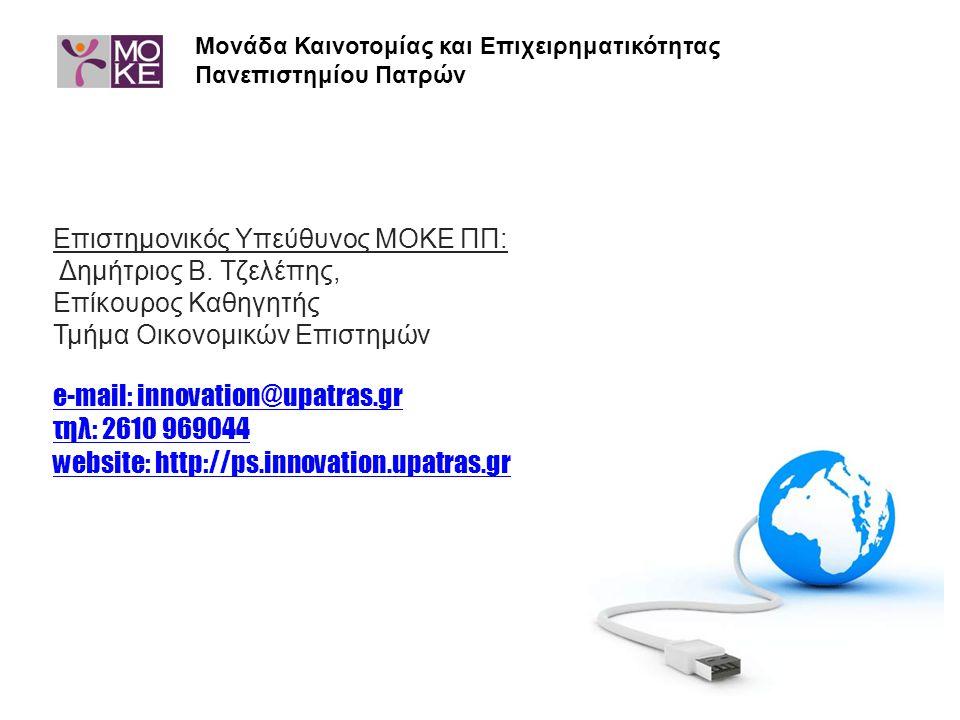 e-mail: innovation@upatras.gr τηλ: 2610 969044 website: http://ps.innovation.upatras.gr Μονάδα Καινοτομίας και Επιχειρηματικότητας Πανεπιστημίου Πατρώ