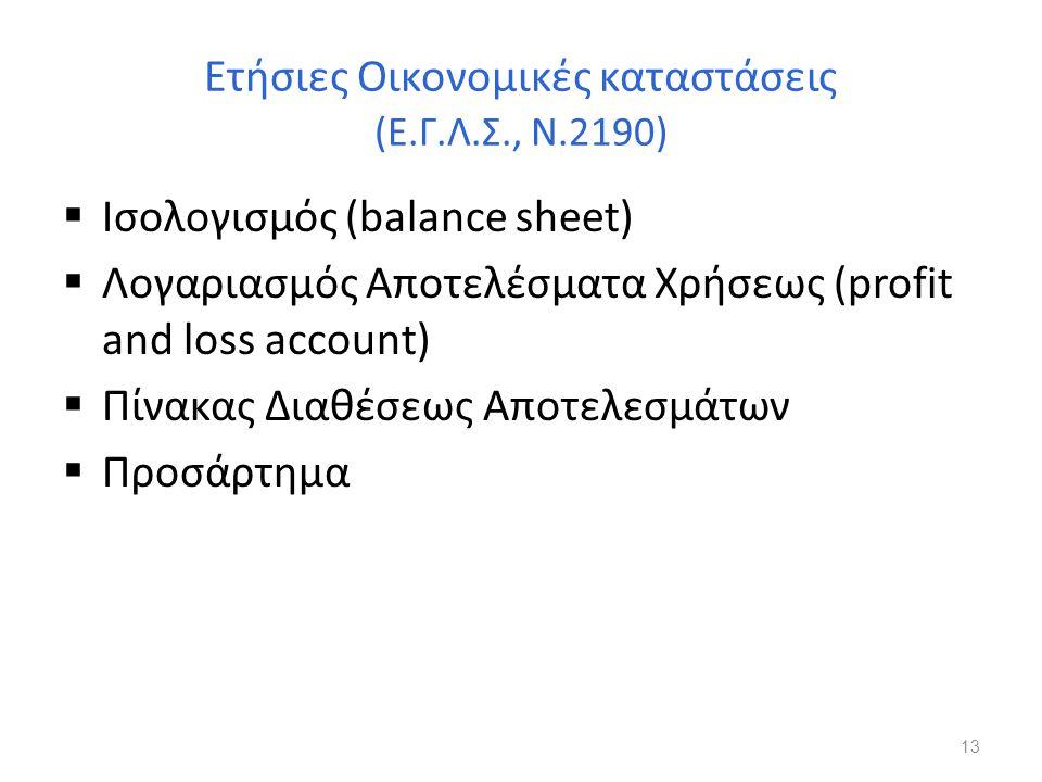 Ετήσιες Οικονομικές καταστάσεις (Ε.Γ.Λ.Σ., Ν.2190)  Ισολογισμός (balance sheet)  Λογαριασμός Αποτελέσματα Χρήσεως (profit and loss account)  Πίνακα