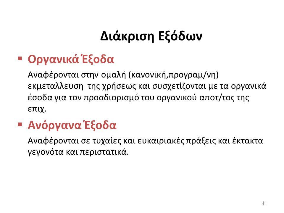 Διάκριση Εξόδων  Οργανικά Έξοδα Αναφέρονται στην ομαλή (κανονική,προγραμ/νη) εκμεταλλευση της χρήσεως και συσχετίζονται με τα οργανικά έσοδα για τον