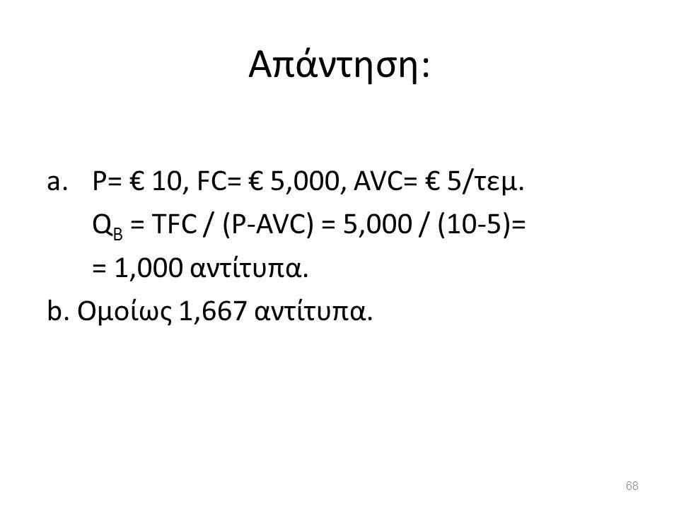 Απάντηση: a.P= € 10, FC= € 5,000, AVC= € 5/τεμ. Q B = TFC / (P-AVC) = 5,000 / (10-5)= = 1,000 αντίτυπα. b. Ομοίως 1,667 αντίτυπα. 68
