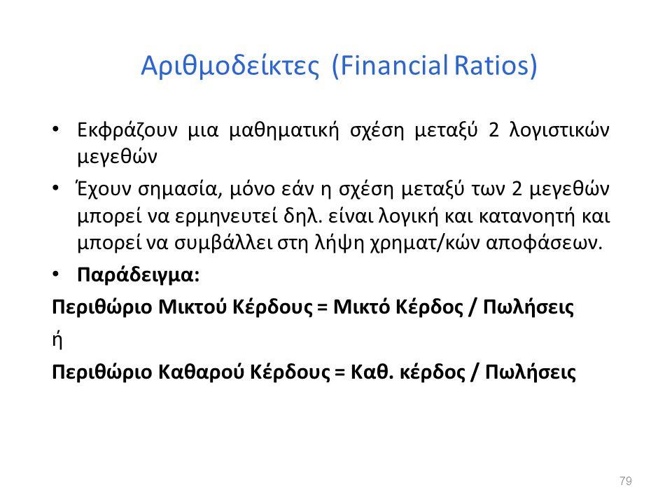 Αριθμοδείκτες (Financial Ratios) Εκφράζουν μια μαθηματική σχέση μεταξύ 2 λογιστικών μεγεθών Έχουν σημασία, μόνο εάν η σχέση μεταξύ των 2 μεγεθών μπορε