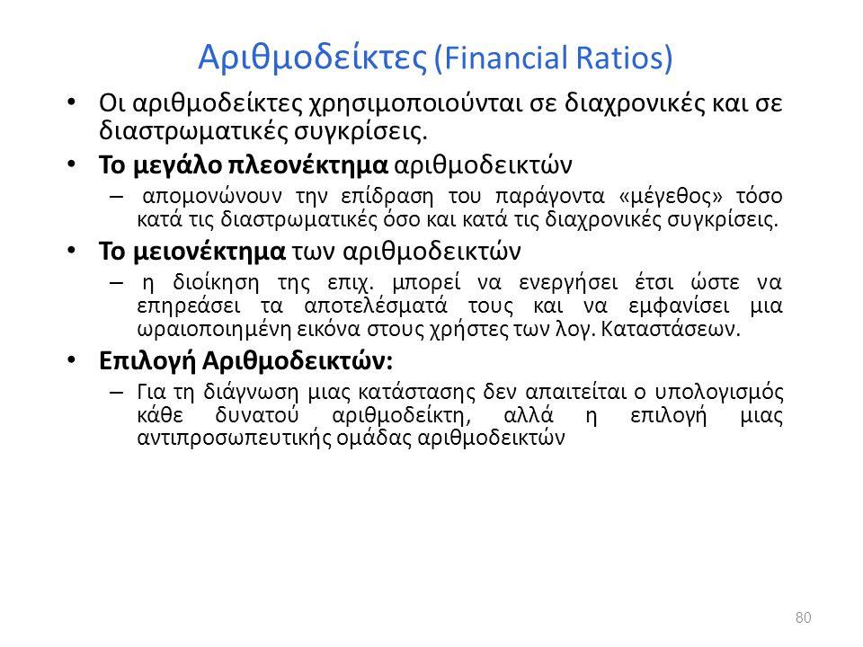 Αριθμοδείκτες (Financial Ratios) Οι αριθμοδείκτες χρησιμοποιούνται σε διαχρονικές και σε διαστρωματικές συγκρίσεις. Το μεγάλο πλεονέκτημα αριθμοδεικτώ