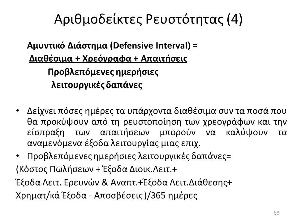 Αριθμοδείκτες Ρευστότητας (4) Αμυντικό Διάστημα (Defensive Interval) = Διαθέσιμα + Χρεόγραφα + Απαιτήσεις Προβλεπόμενες ημερήσιες λειτουργικές δαπάνες