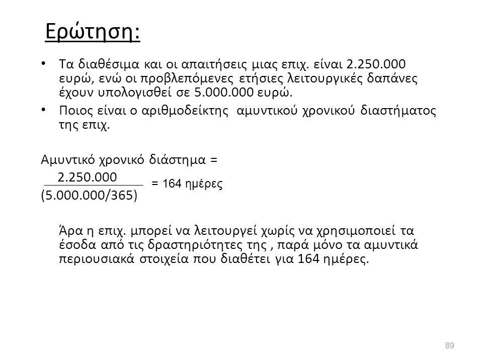 Ερώτηση: Τα διαθέσιμα και οι απαιτήσεις μιας επιχ. είναι 2.250.000 ευρώ, ενώ οι προβλεπόμενες ετήσιες λειτουργικές δαπάνες έχουν υπολογισθεί σε 5.000.