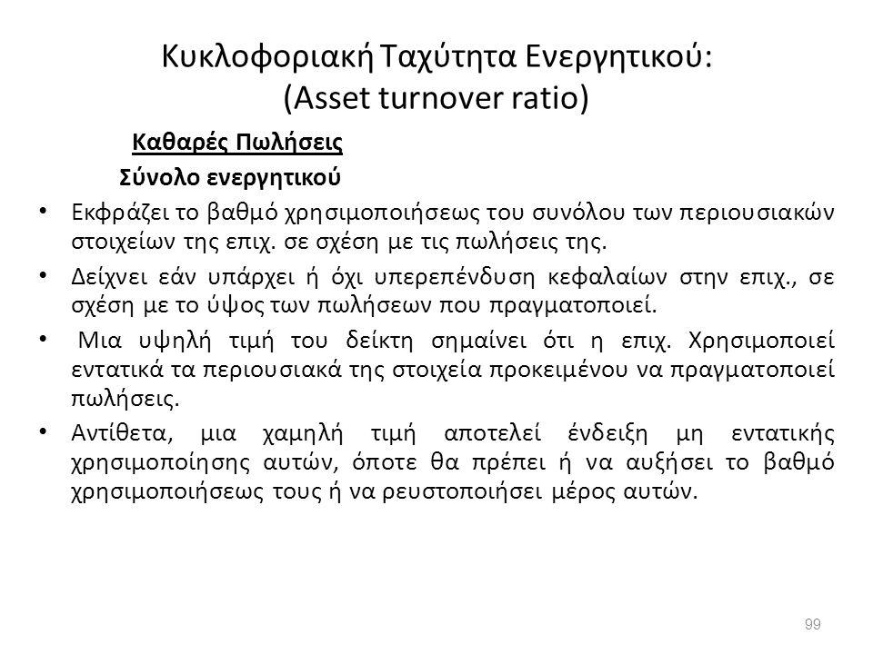 Κυκλοφοριακή Ταχύτητα Ενεργητικού: (Asset turnover ratio) Καθαρές Πωλήσεις Σύνολο ενεργητικού Εκφράζει το βαθμό χρησιμοποιήσεως του συνόλου των περιου