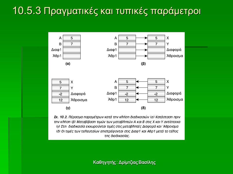 Καθηγητής : Δρίμτζιας Βασίλης 10.5.3 Πραγματικές και τυπικές παράμετροι