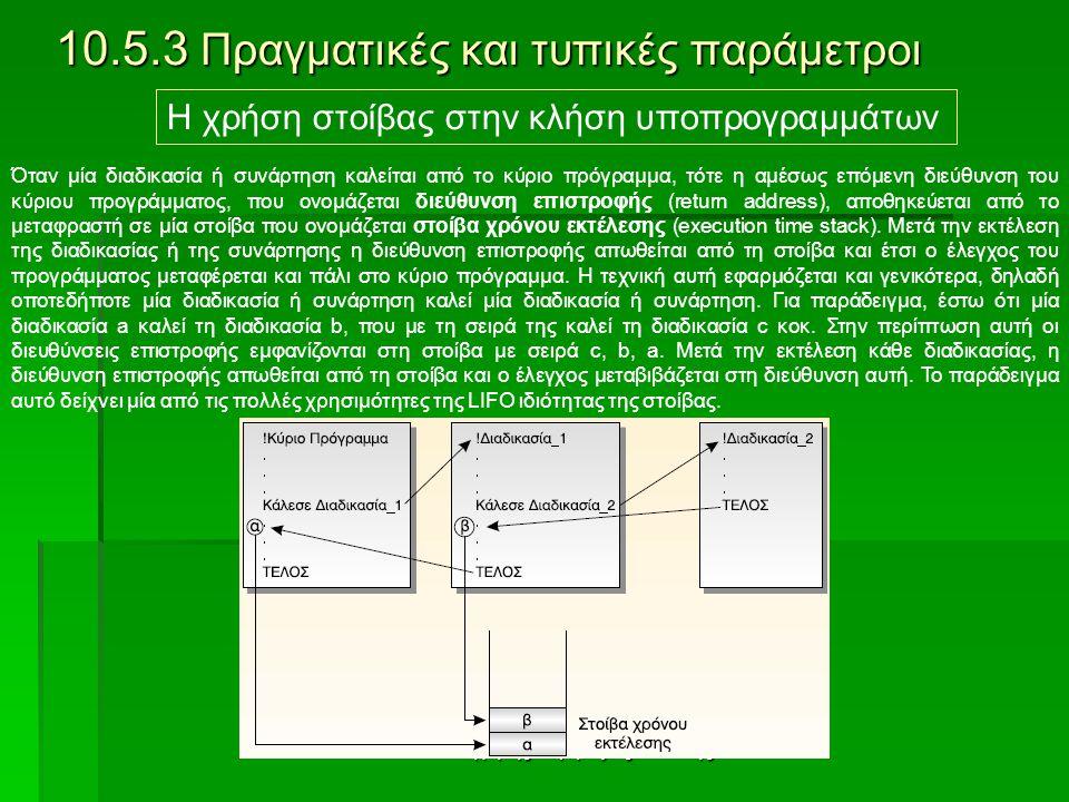 Καθηγητής : Δρίμτζιας Βασίλης 10.5.3 Πραγματικές και τυπικές παράμετροι Η χρήση στοίβας στην κλήση υποπρογραμμάτων Όταν μία διαδικασία ή συνάρτηση καλείται από το κύριο πρόγραμμα, τότε η αμέσως επόμενη διεύθυνση του κύριου προγράμματος, που ονομάζεται διεύθυνση επιστροφής (return address), αποθηκεύεται από το μεταφραστή σε μία στοίβα που ονομάζεται στοίβα χρόνου εκτέλεσης (execution time stack).