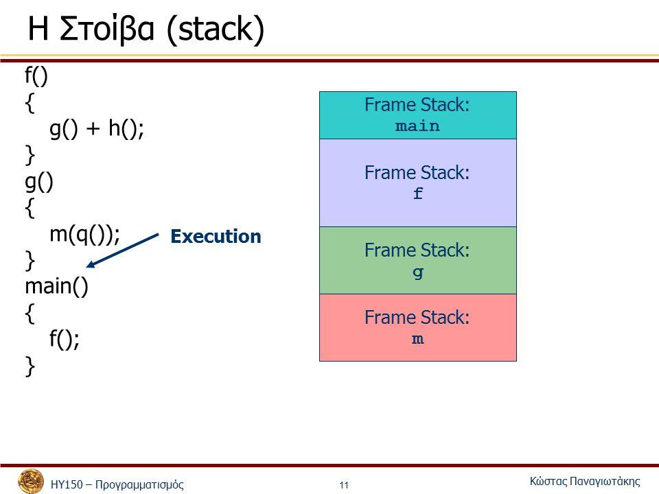 ΗΥ150 – Προγραμματισμός Κώστας Παναγιωτάκης 11 Η Στοίβα (stack) f() { g() + h(); } g() { m(q()); } main() { f(); } Frame Stack: main Frame Stack: f Frame Stack: g Execution Frame Stack: m
