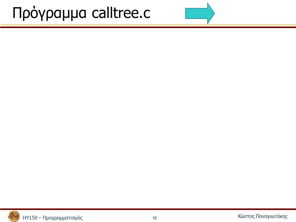 ΗΥ150 – Προγραμματισμός Κώστας Παναγιωτάκης 18 Πρόγραμμα calltree.c