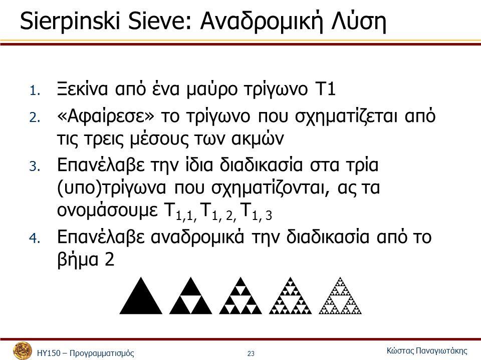 ΗΥ150 – Προγραμματισμός Κώστας Παναγιωτάκης 23 Sierpinski Sieve: Αναδρομική Λύση 1. Ξεκίνα από ένα μαύρο τρίγωνο Τ1 2. «Αφαίρεσε» το τρίγωνο που σχημα