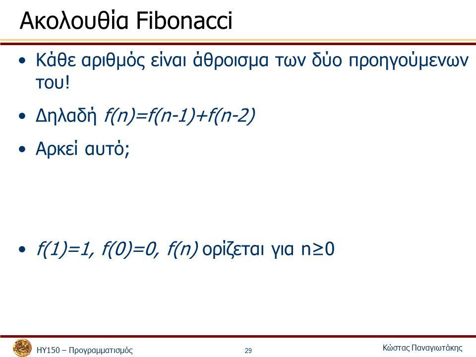 ΗΥ150 – Προγραμματισμός Κώστας Παναγιωτάκης 29 Ακολουθία Fibonacci Κάθε αριθμός είναι άθροισμα των δύο προηγούμενων του! Δηλαδή f(n)=f(n-1)+f(n-2) Αρκ