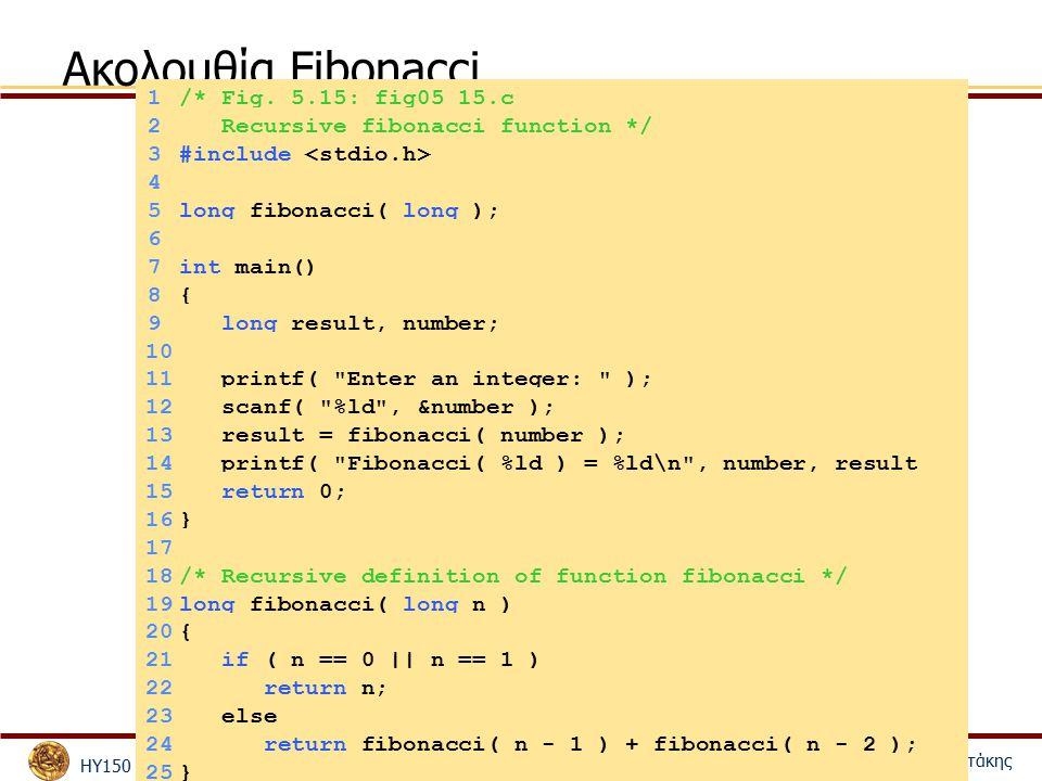 ΗΥ150 – Προγραμματισμός Κώστας Παναγιωτάκης 31 Ακολουθία Fibonacci 1/* Fig. 5.15: fig05_15.c 2 Recursive fibonacci function */ 3#include 4 5long fibon