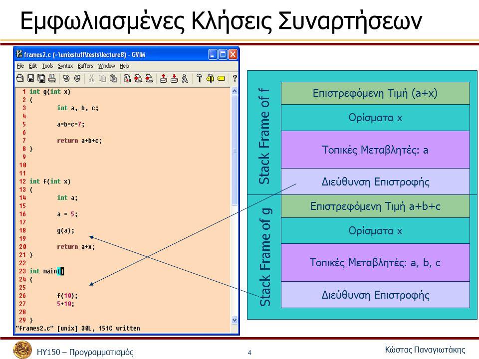 ΗΥ150 – Προγραμματισμός Κώστας Παναγιωτάκης 4 Εμφωλιασμένες Κλήσεις Συναρτήσεων Επιστρεφόμενη Τιμή (a+x) Διεύθυνση Επιστροφής Ορίσματα x Τοπικές Μεταβλητές: a Επιστρεφόμενη Τιμή a+b+c Διεύθυνση Επιστροφής Ορίσματα x Τοπικές Μεταβλητές: a, b, c Stack Frame of g Stack Frame of f