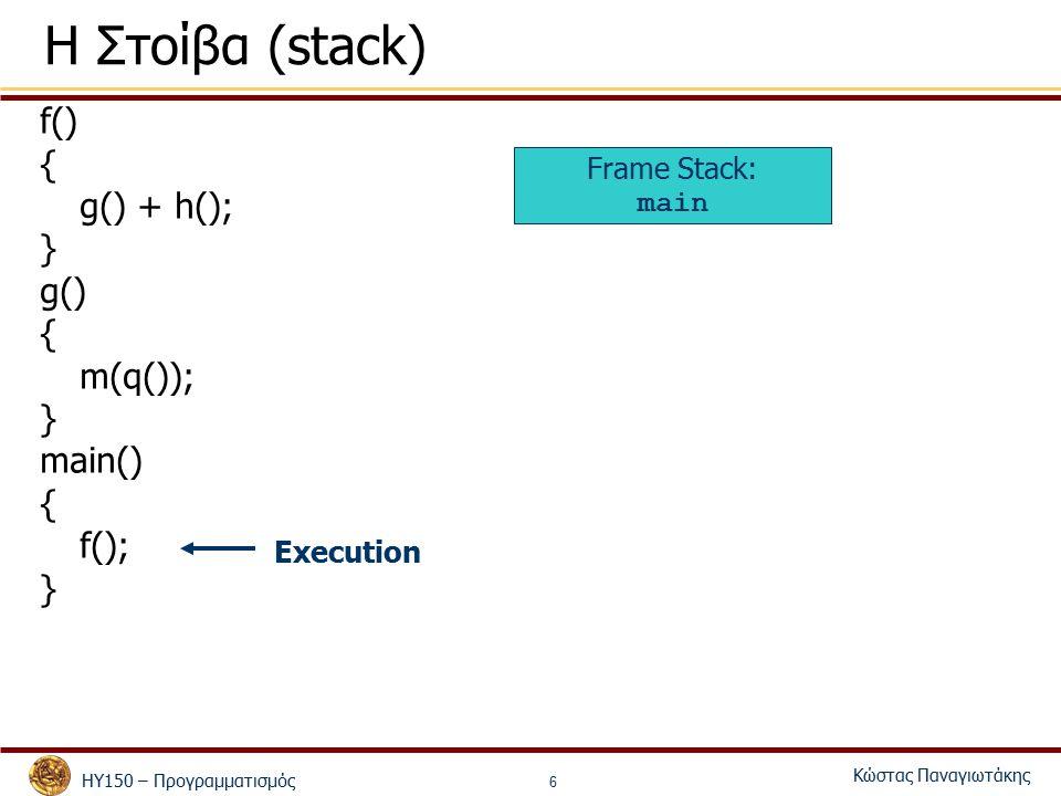 ΗΥ150 – Προγραμματισμός Κώστας Παναγιωτάκης 6 Η Στοίβα (stack) f() { g() + h(); } g() { m(q()); } main() { f(); } Frame Stack: main Execution